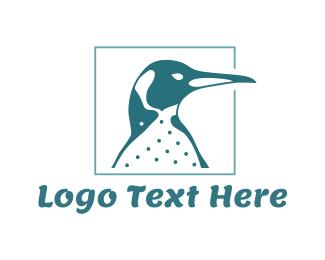 Antarctica - Blue Emperor Penguin logo design