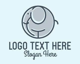 Daycare - Circle Elephant Monoline logo design
