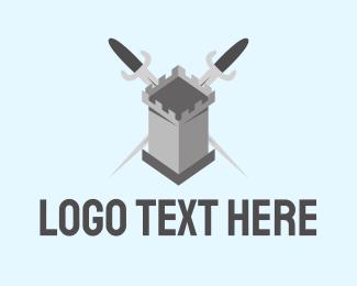 Security - Castle Sword Weapon logo design