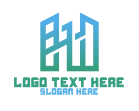 Town - Modern Geometric Buildings logo design