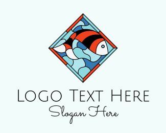 Ocean Animal - Fish Plate Stained Glass logo design