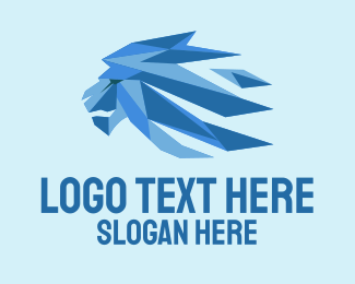 Cooling - Blue 3D Ice Lion logo design