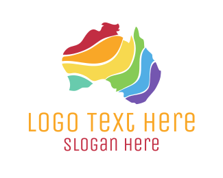 Sydney - Colorful Australian Map logo design