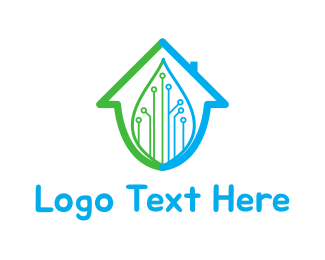 Green Drop - Smart Home logo design