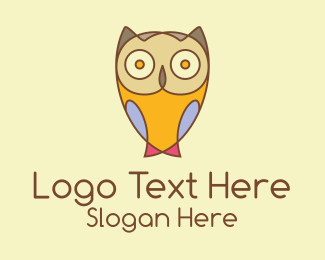 Cartoon - Colorful Owl Cartoon  logo design