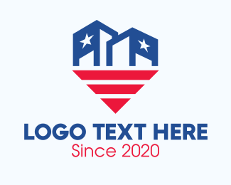 Voting - USA Patriotic City Building logo design