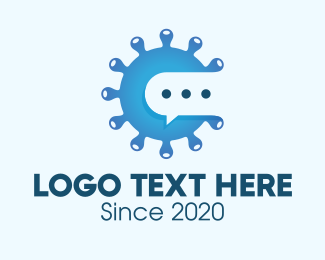 Microbiology - Blue Virus Messaging logo design