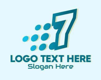 Jersey Number - Modern Tech Number 7 logo design