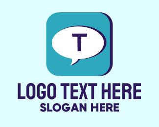 Text - Blue Text App Icon logo design