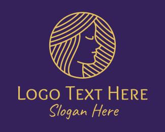 Pretty - Pretty Gold Lady logo design