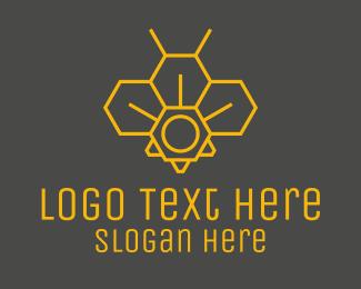 Beekeeping - Yellow Honeycomb Outline logo design