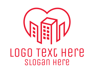 Red Building - Heart City Buildings logo design