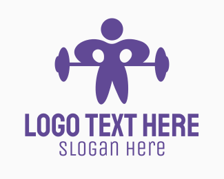 Cross Country - Gym Weightlifting Man logo design