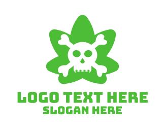 Cannabis Oil - Green Cannabis Skull logo design