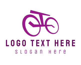 Cycling - Purple Bicycle logo design