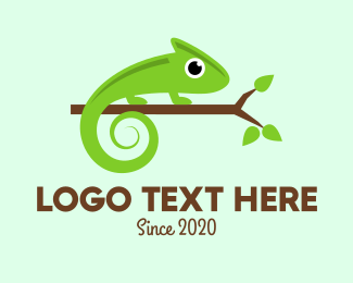 Jungle Animal - Green Chameleon Branch logo design