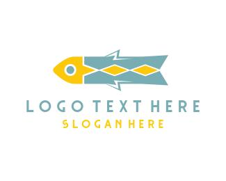 Vintage - Fish Rocket  logo design