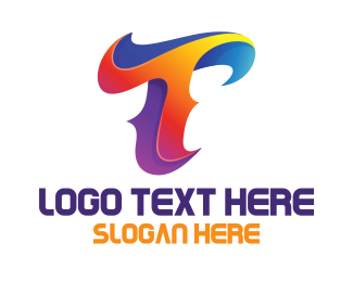 Wavy - Colorful Letter T Wave logo design
