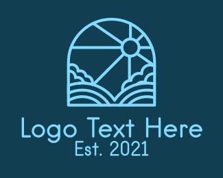 Simple - Blue Sunshine Window logo design