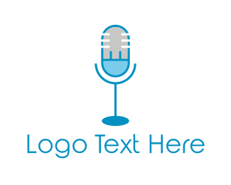 Live - Blue Electric Microphone logo design