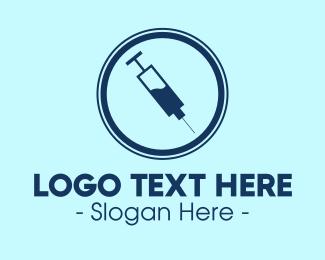 Shot - Injection Syringe Needle logo design