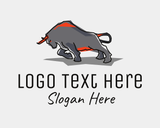 Meat - Charging Bull  logo design