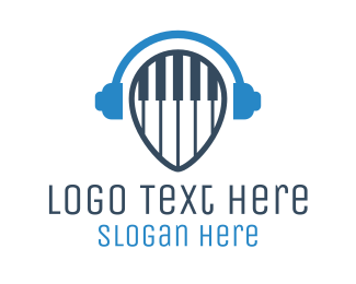 Earphones - Blue Piano Media  logo design