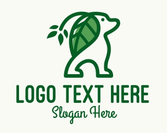 Animal Rehabilitation - Green Leaf Ears Dog logo design