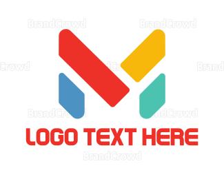 Blocks - Colorful Letter M  logo design