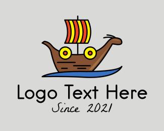 Voyage - Ancient Viking Warship logo design