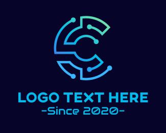 Service Provider - Circuit Tech Letter C logo design