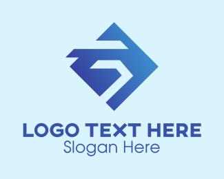 Company - Blue Diamond Letter G logo design