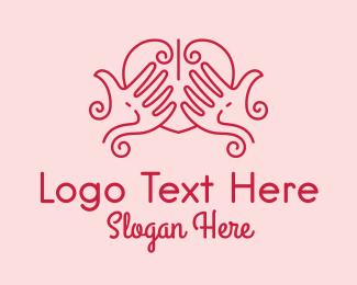 Massage - Hand Heart Massage logo design