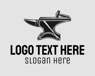 Equipment - Blacksmith Anvil Hammer logo design