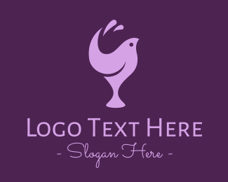 Bird Silhouette - Purple Bird Wine Glass logo design