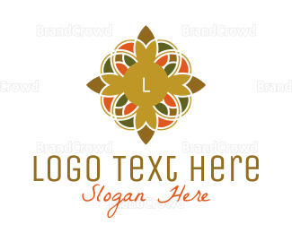 Buddhism - Ornamental Flower Lettermark logo design