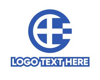 Oceania - Round Greece Flag Letter E logo design