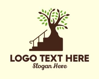 Carpentry - Stairs Tree Carpentry logo design