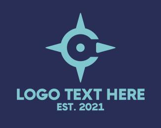 Glonass - Blue C Compass logo design