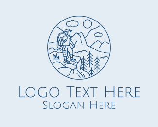 Rock Climbing - Mountain Peak Hiker  logo design