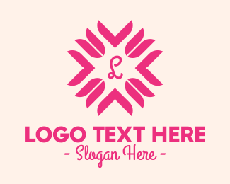 Tulip Flower - Pink Tulip Lettermark logo design