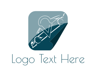Sports Car - White Car logo design