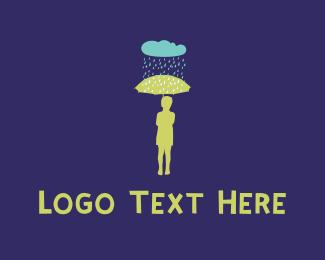 Storm - Rain & Umbrella logo design