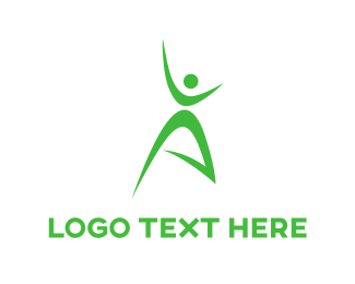 Healthcare - Green Person logo design