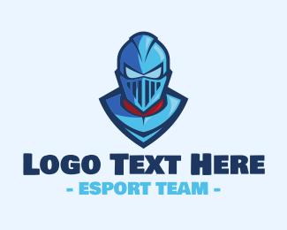 Warrior - Blue Warrior Knight logo design