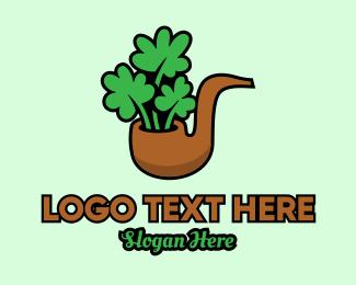 Lucky - Lucky Clover Pipe logo design