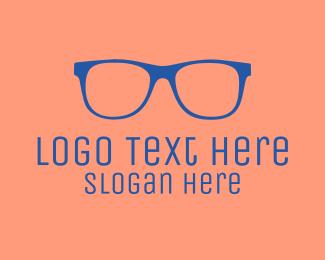 Glasses - Blue Glass Outline logo design