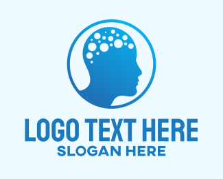 Neuro Science - Blue Human Brain Mind logo design