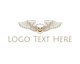 Corps - Shield Skeleton Wings logo design