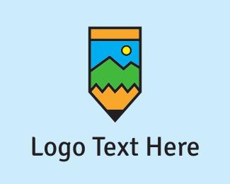 Pencil - Pencil & Landscape logo design